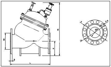 (3)带中腔阀门外型尺寸示意图
