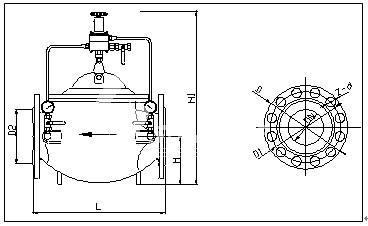 (2)无中腔阀门外型尺寸示意图