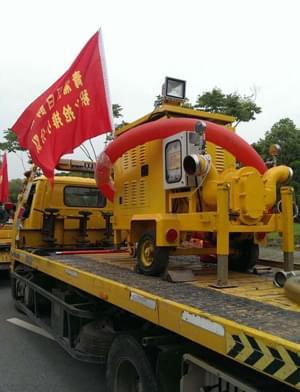 三业科技移动泵车参加2016年上海某区防汛防台积水抢排演练